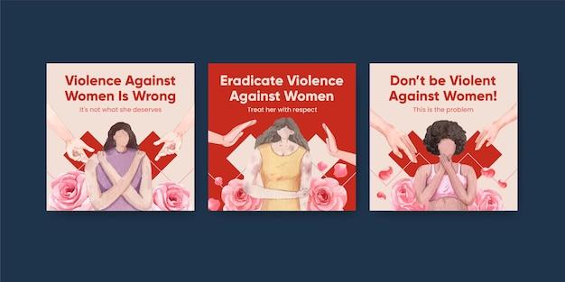 Bannermalplaatje met stop geweld tegen vrouwen in aquarelstijl