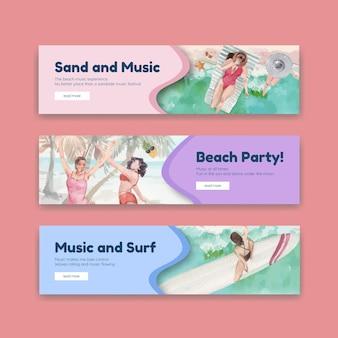 Bannermalplaatje met strandvakantie conceptontwerp voor adverteren aquarel illustratie