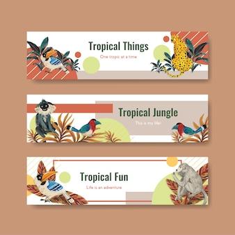 Bannermalplaatje met tropisch eigentijds conceptontwerp voor adverteren en marketing aquarel illustratie