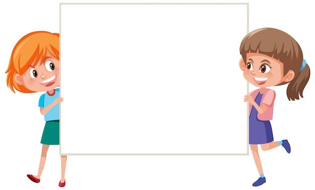 Bannermalplaatje met twee gelukkige meisjes die whiteboard houden