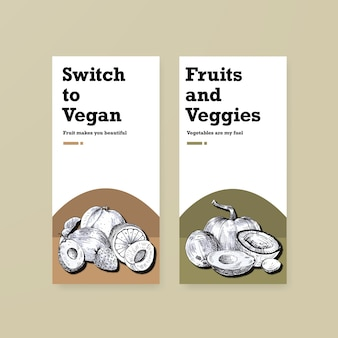 Bannermalplaatje met veganistisch voedselconceptontwerp.