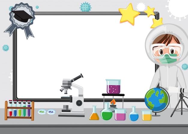 Bannermalplaatje met vrouw die in laboratorium werkt