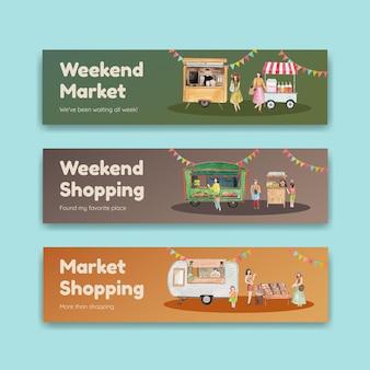 Bannermalplaatje met weekendmarktconcept, waterverfstijlwater