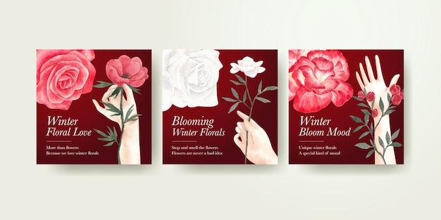 Bannermalplaatje met winter bloemenconcept, waterverfstijl