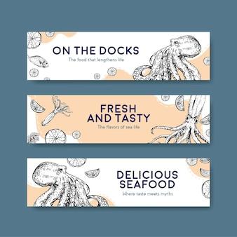 Bannermalplaatje met zeevruchtenconceptontwerp voor adverteren en brochureillustratie
