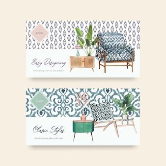 Bannermalplaatjes met ikat-concept in aquarel stijl