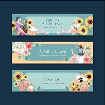 Bannermalplaatjes met vaderdagconcept in aquarel stijl