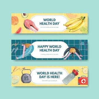 Bannermalplaatjes voor wereldgezondheidsdag in aquarel stijl