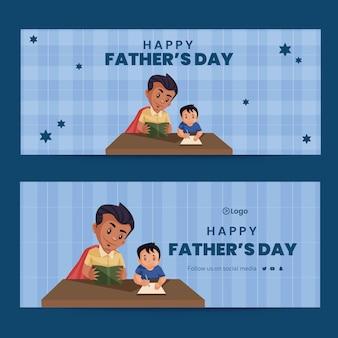 Bannerontwerp in cartoonstijl met gelukkige vadersdag