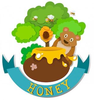 Bannerontwerp met beer en honing