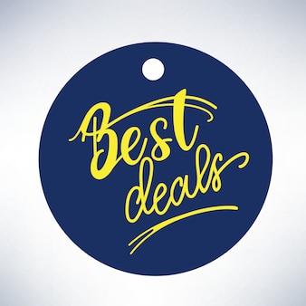Bannerontwerp met belettering beste deals. vector illustratie.