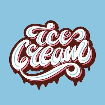 Bannerontwerp met belettering ice cream. vector illustratie.