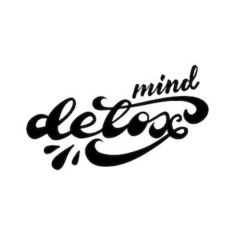 Bannerontwerp met belettering mind detox. vector illustratie.
