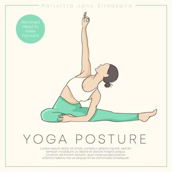 Bannerontwerp met handgetekende illustratie van gezonde jonge vrouw die yoga beoefent in pasteloutfit vectorillustratie