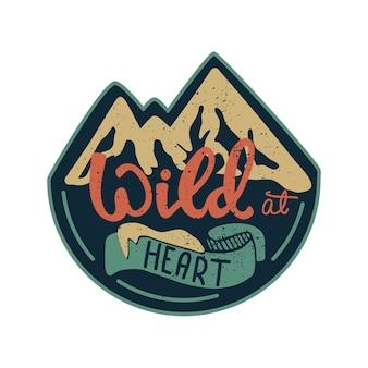 Bannerontwerp met letters wild uit het hoofd. vector illustratie.