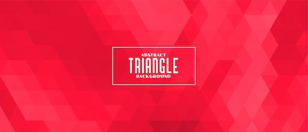 Bannerontwerp met rood driehoekig geometrisch patroon