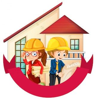 Bannerontwerp met twee ingenieurs bij het geïsoleerde huis