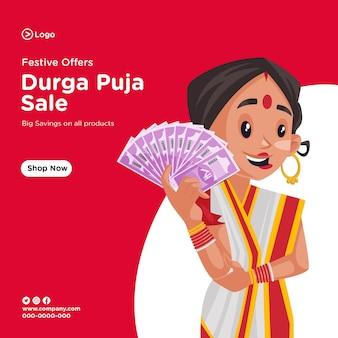 Bannerontwerp om jullie allemaal heel gelukkige durga puja-verkoop te wensen