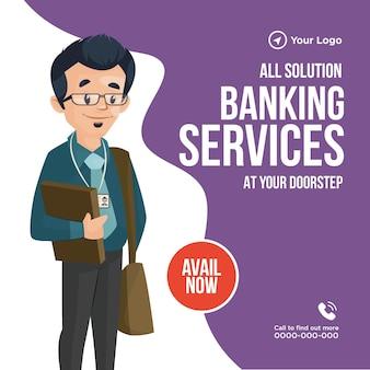 Bannerontwerp van alle oplossingsbankdiensten