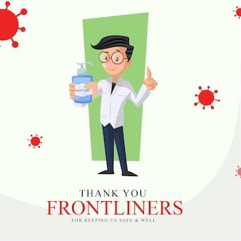 Bannerontwerp van bedankt frontliners voor het veilig en gezond houden van ons
