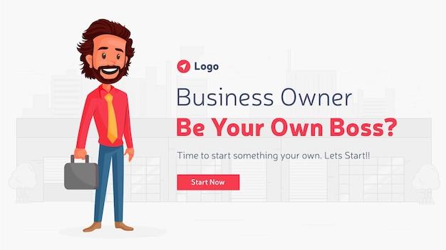 Bannerontwerp van bedrijfseigenaar, wees je eigen baas