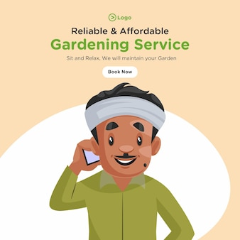 Bannerontwerp van betrouwbare en betaalbare tuinierservice