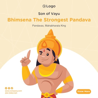 Bannerontwerp van bhimsena de sterkste pandava cartoon-stijlsjabloon