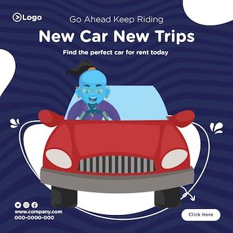 Bannerontwerp van blijf rijden op nieuwe auto nieuwe reizen-sjabloon