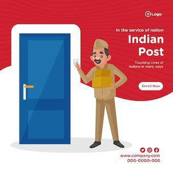 Bannerontwerp van cartoon-stijlsjabloon voor indiase postservice