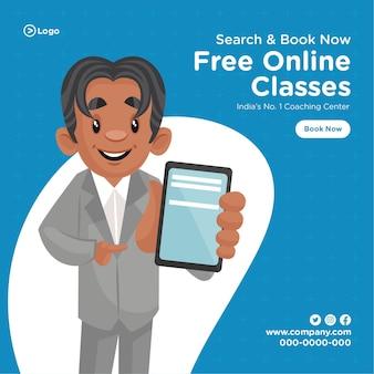 Bannerontwerp van cartoonstijlsjabloon voor gratis online lessen coachingcentrum