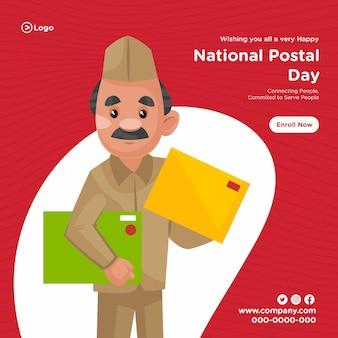 Bannerontwerp van cartoonstijlsjabloon voor nationale postdagdiensten