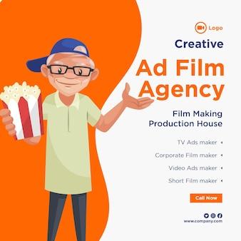 Bannerontwerp van creatief reclamefilmbureau productiehuis sjabloon