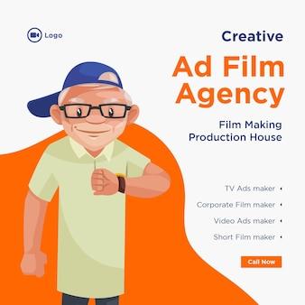 Bannerontwerp van creatieve reclamefilmbureau filmproductie huis sjabloon