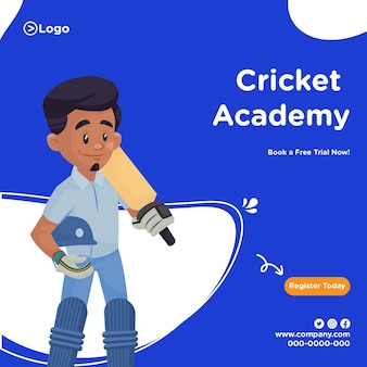 Bannerontwerp van cricketacademie in cartoon-stijl