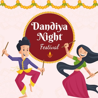 Bannerontwerp van dandiya night festival cartoon stijlsjabloon