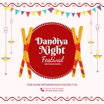 Bannerontwerp van dandiya night festival-sjabloon