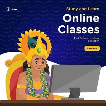 Bannerontwerp van de eerste online lessen over mythologieonderwijs