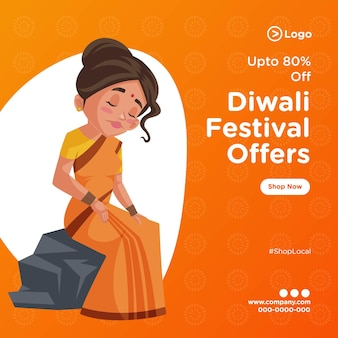 Bannerontwerp van diwali-festival biedt sjabloon