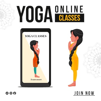 Bannerontwerp van doe nu mee aan online yoga-lessen
