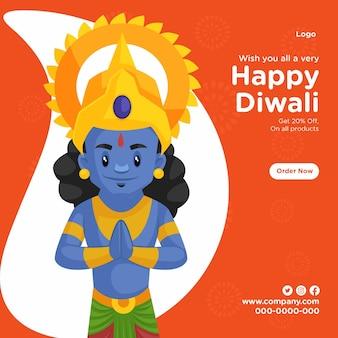 Bannerontwerp van festival van lichten gelukkige diwali-vieringen