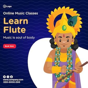 Bannerontwerp van fluit leren in online muzieklessen
