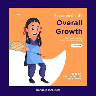 Bannerontwerp van focus op de algemene groeisjabloon van het kind