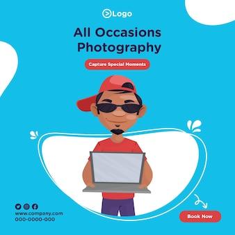 Bannerontwerp van fotografiesjabloon voor alle gelegenheden