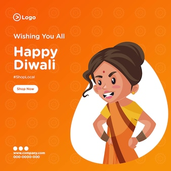 Bannerontwerp van gelukkige diwali-sjabloon Premium Vector