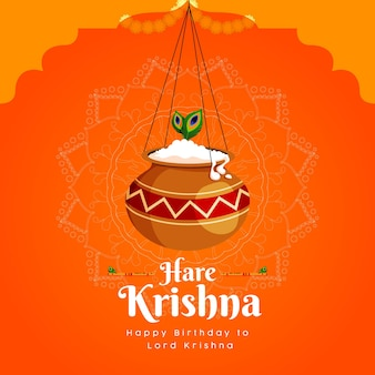 Bannerontwerp van haas krishna indiase festivalsjabloon