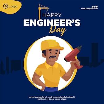 Bannerontwerp van happy engineers day cartoon-stijlsjabloon