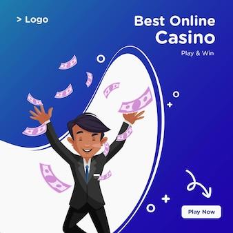 Bannerontwerp van het beste online casino in cartoon-stijl
