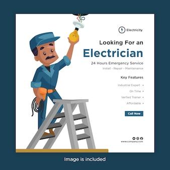 Bannerontwerp van het zoeken naar een elektriciensjabloon voor sociale media met een lamp voor een elektricien in het dak