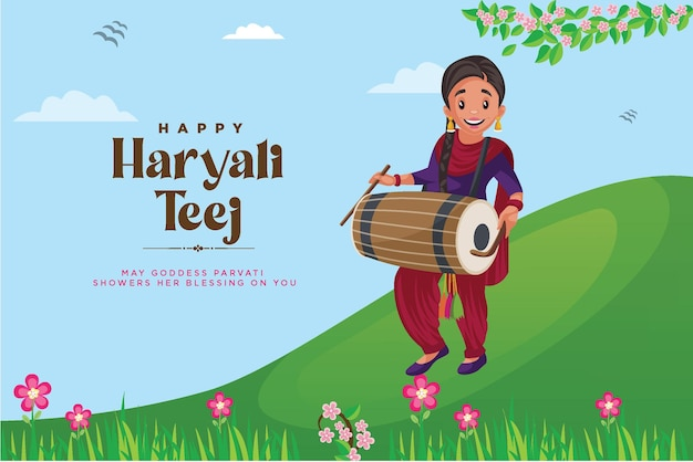 Bannerontwerp van indiase festival happy haryali teej-sjabloon