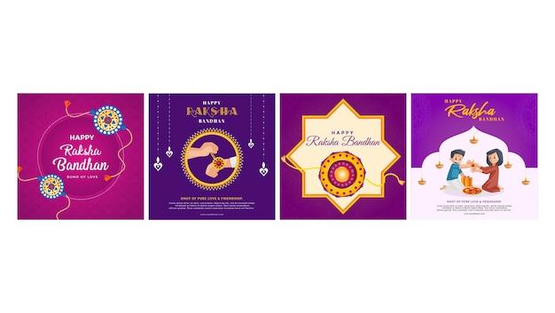 Bannerontwerp van indiase festival happy raksha bandhan set template